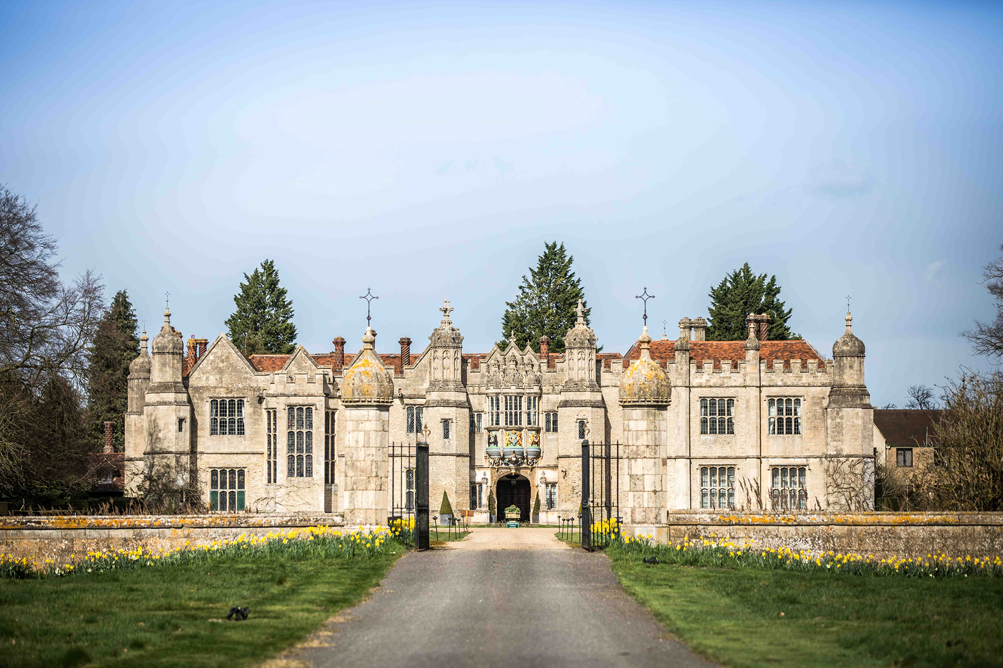 Hengrave Hall from the main entrance driveway
