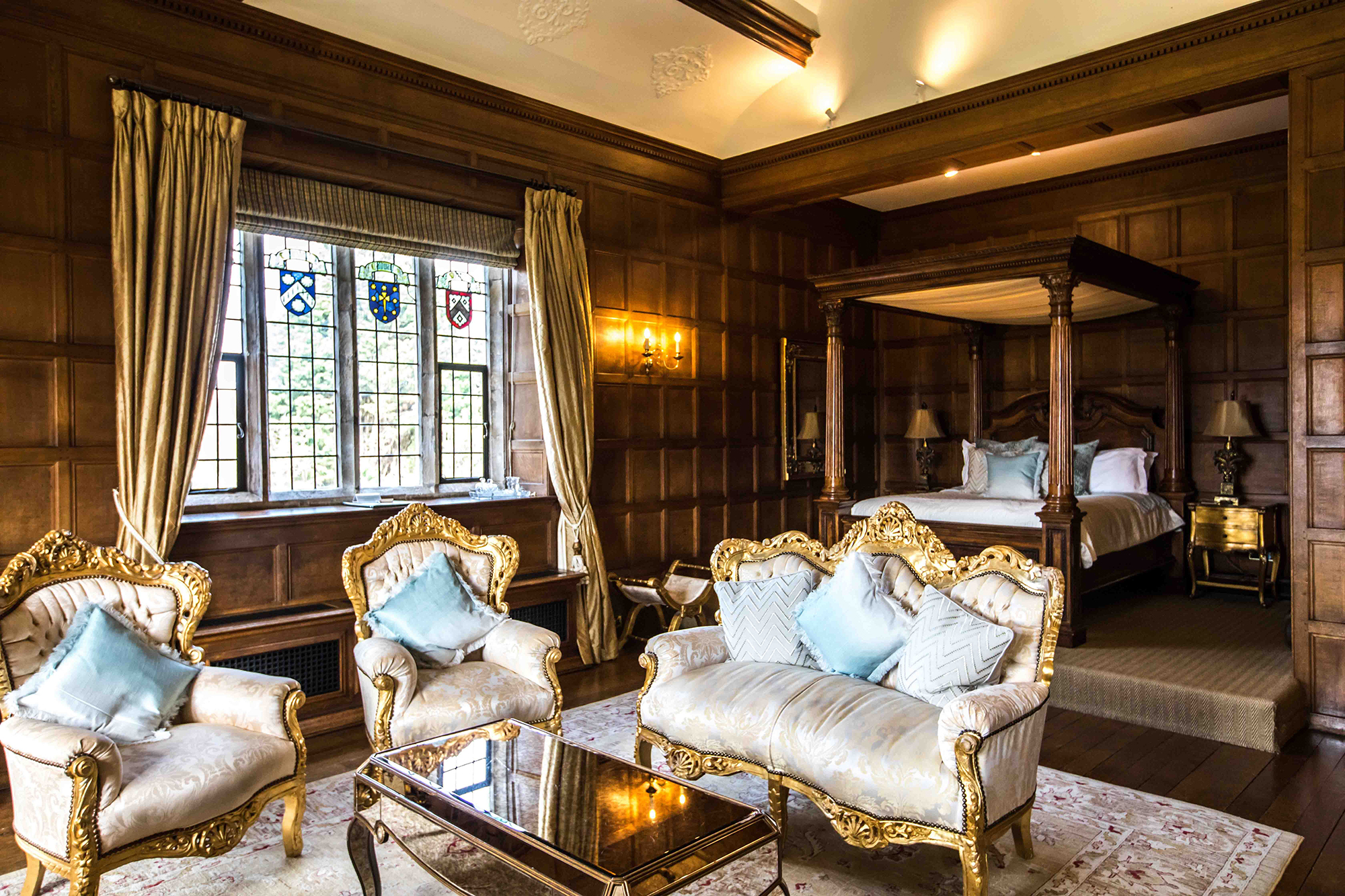 Immaculate Tudor bedroom, with four-poster bed, ready for the married couple at Hengrave Hall