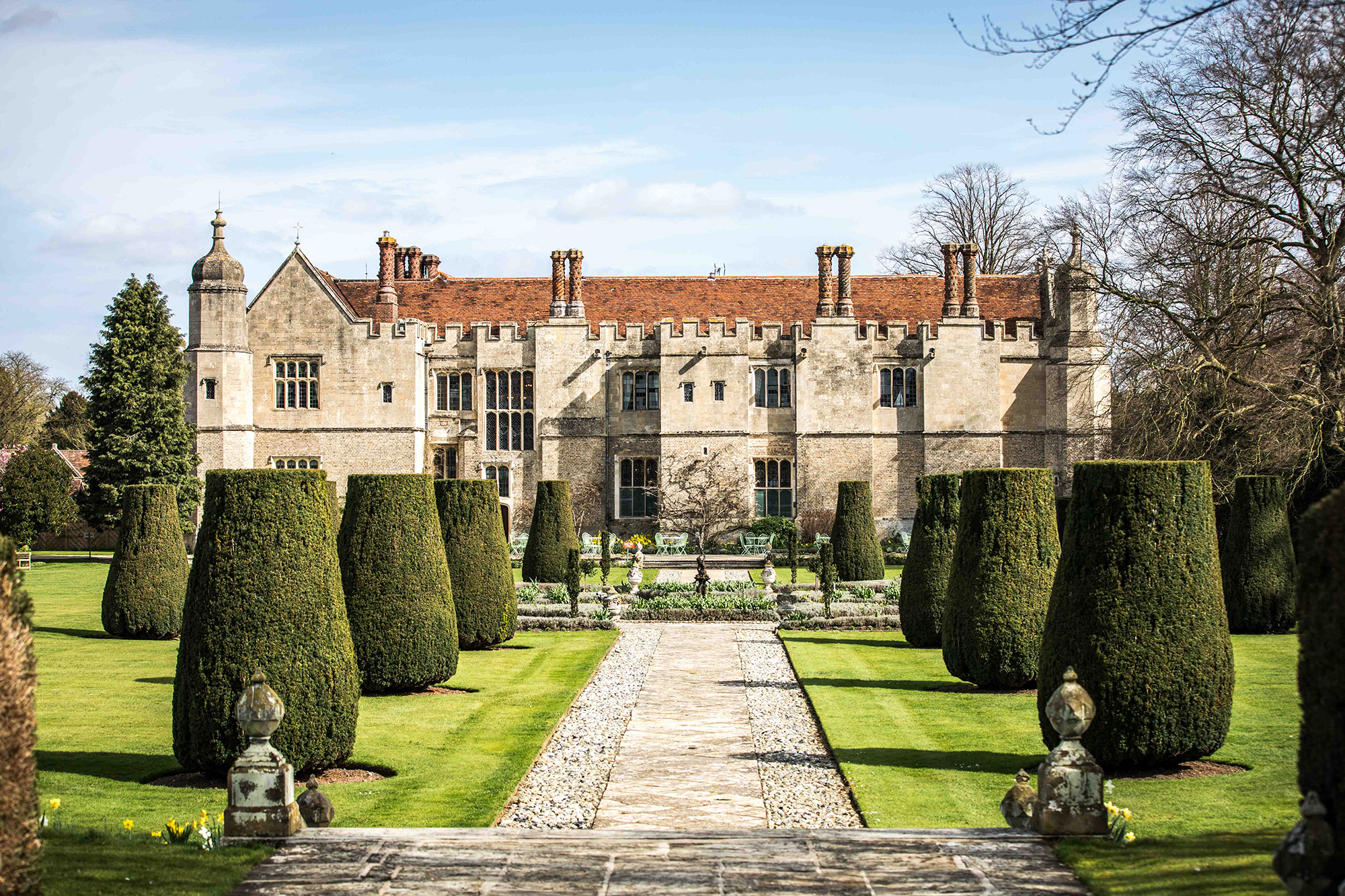 The rear of Hengrave Hall and gardens in early spring