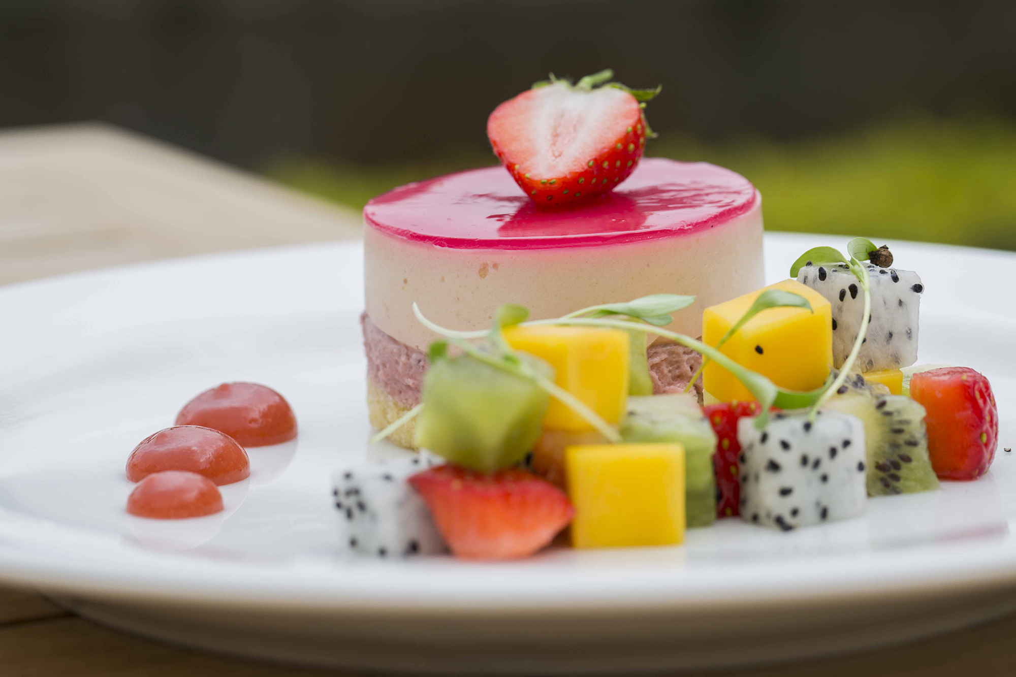 Close up of an intricate, appetising, colourful desert served at Hengrave Hall, Bury St Edmunds, Suffolk