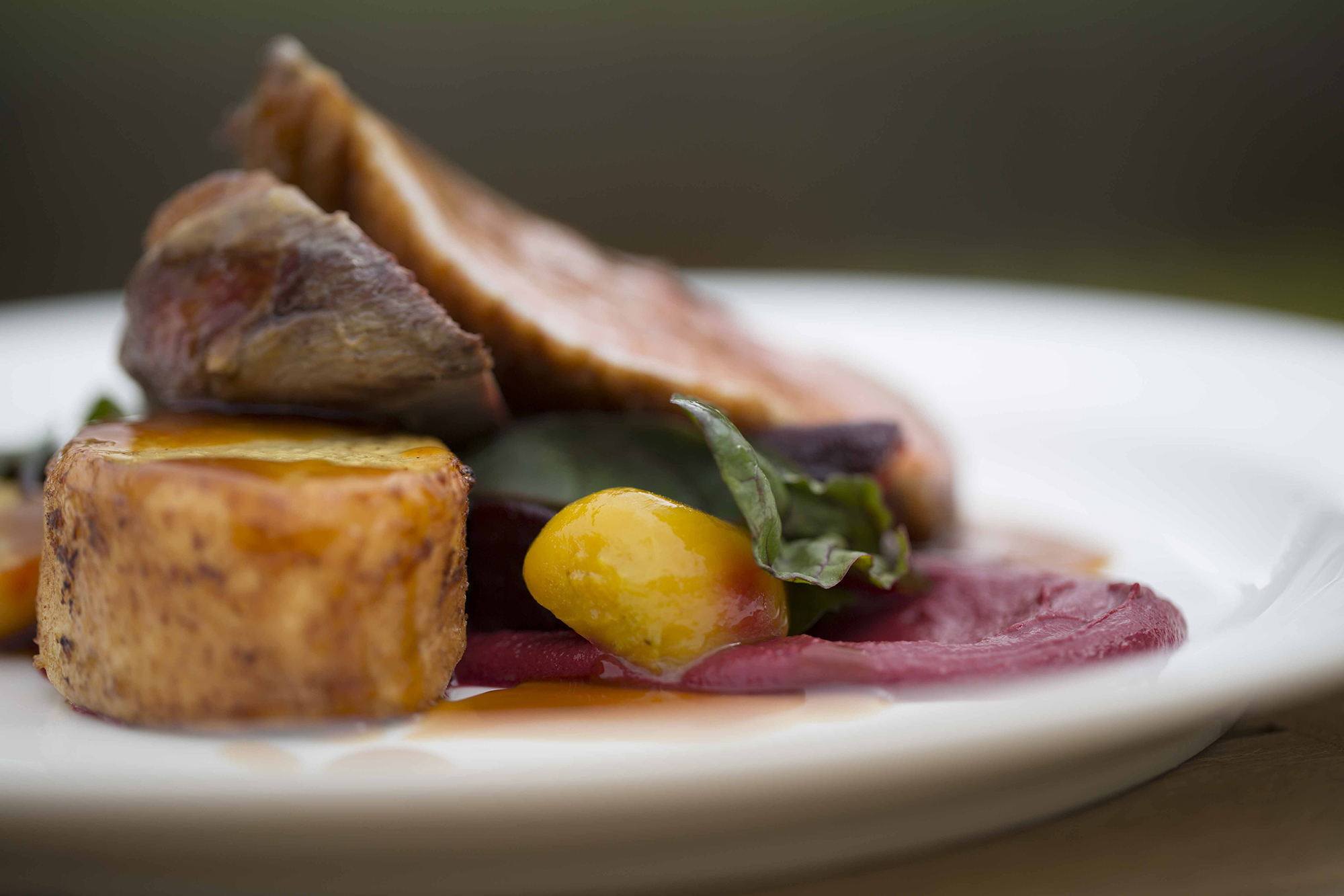 Close up of gorgeous food served at Hengrave Hall