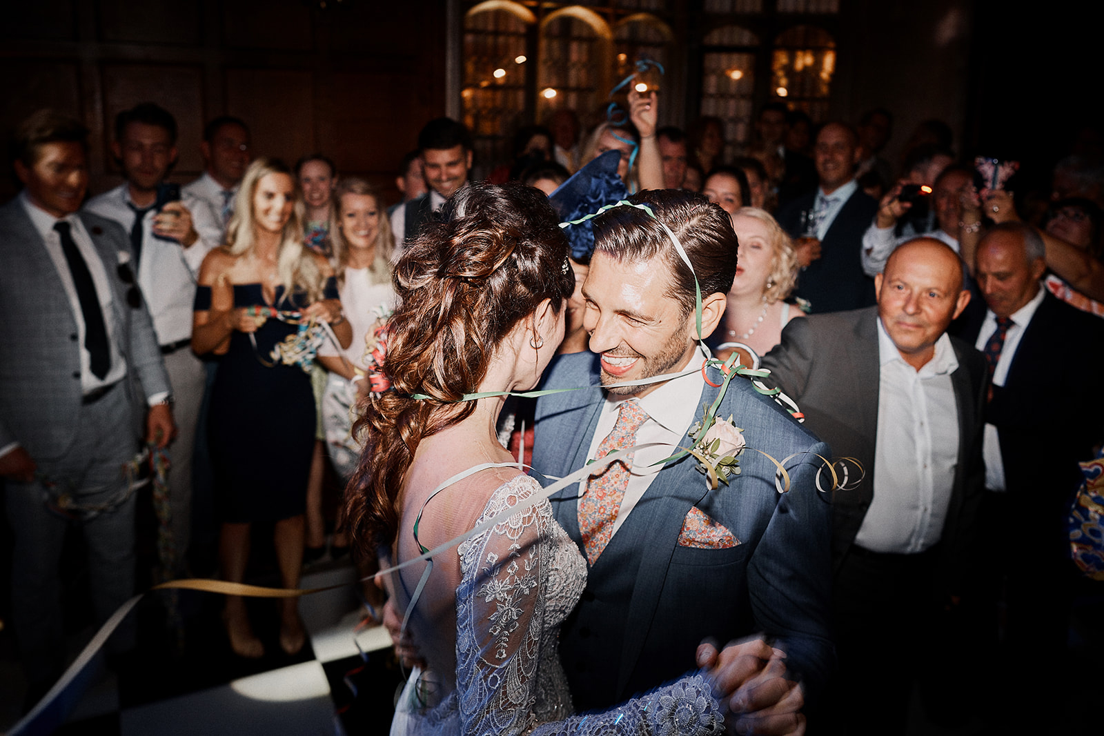 Newly married couple have their first dance at Hengrave Hall