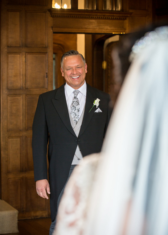 Happy, proud father of the Bride at Hengrave Hall