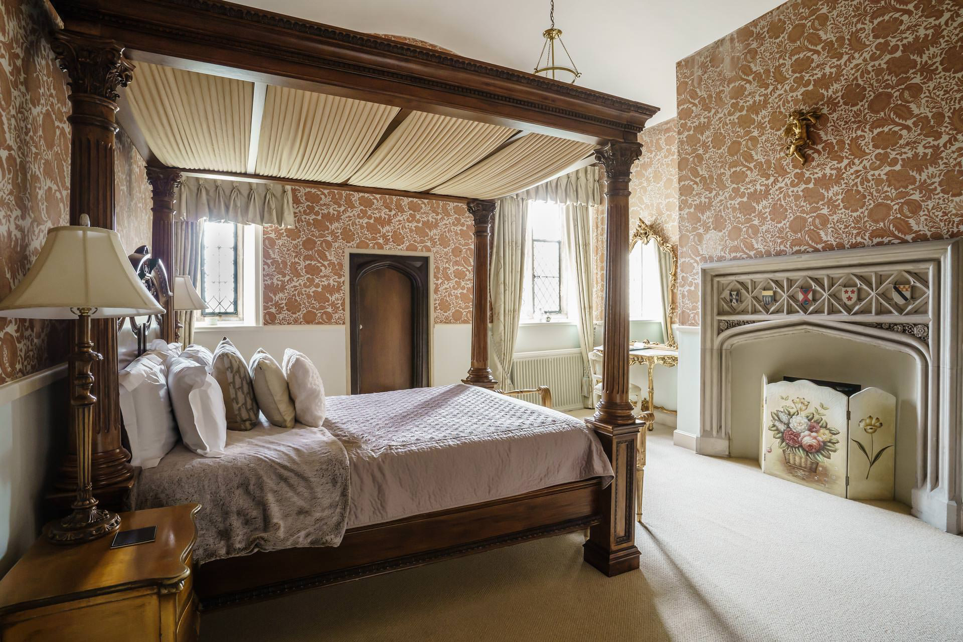 Four Poster Bed and Bedroom at Hengrave Hall